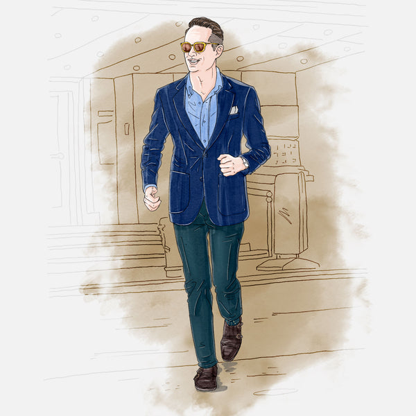 color sketch of man in hopsack blazer