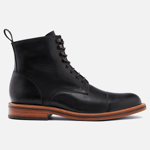 *SECONDS* Dowler Cap-toe Boot - Calfskin Leather - Black