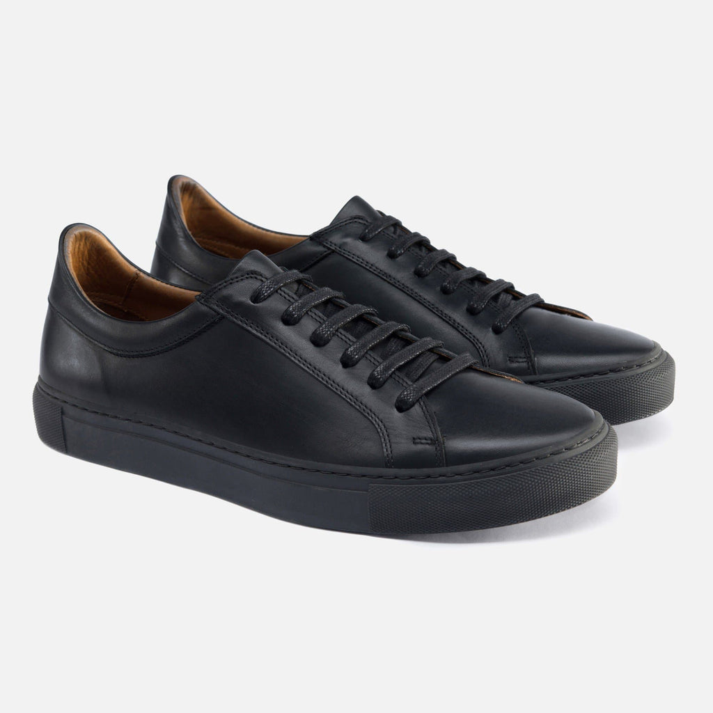 Men's Low Top Sneakers - All Black Leather