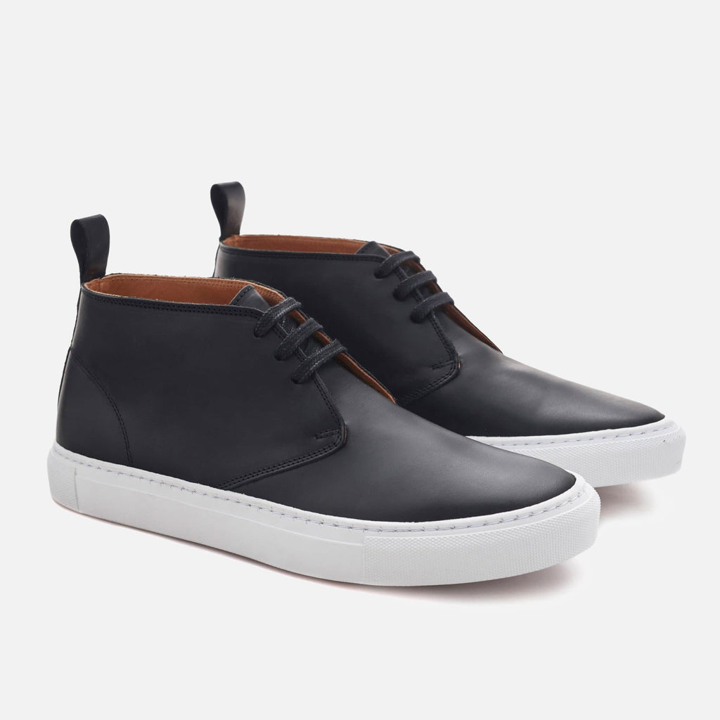 *SECONDS* High-Top Sneakers - Black Leather