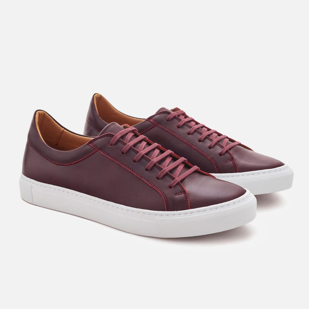 Men's Low Top Sneakers - Burgundy Leather
