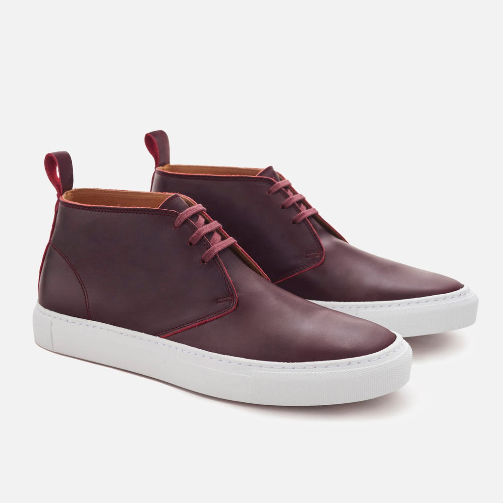 *SECONDS* High-Top Sneakers - Burgundy Leather