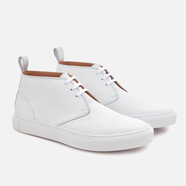 Men's High-Top Sneakers - White Leather