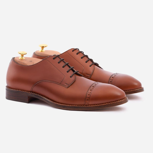 *SECONDS* Norman Cap-toe Derby - Calfskin Leather - Tan