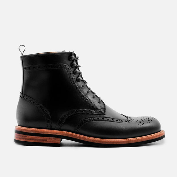 *SECONDS* Nolan Brogue Boots - Calfskin Leather - Black