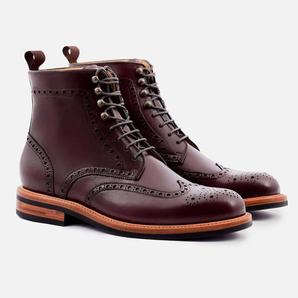 *SECONDS* Nolan Brogue Boots - Calfskin Leather - Bordeaux