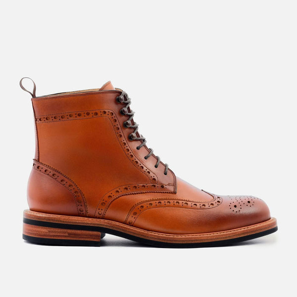 *SECONDS* Nolan Brogue Boots - Calfskin Leather - Tan