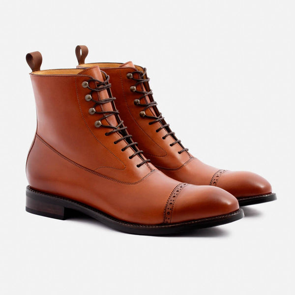 Elliot Balmoral Boot - Calfskin Leather - Tan