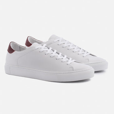 Reid Sneakers - Full Grain Leather - White/Bordeaux/White