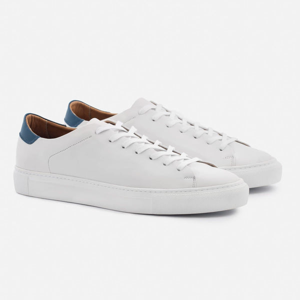 Reid Sneakers - Full Grain Leather - White/Blue/White