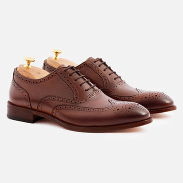 Yates Oxford Brogues - Calfskin Leather - Oak