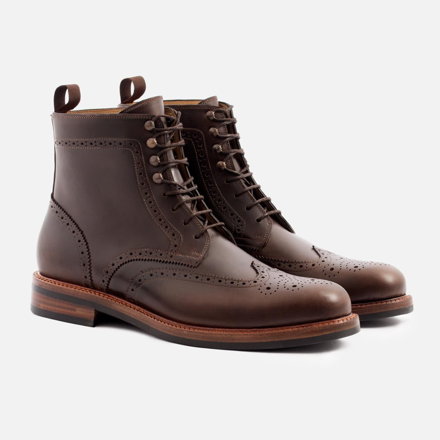 Mens Brogue Boot Lace Up Boot in Brown by Beckett