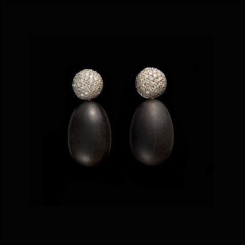 A. E. Köchert Diamond and Ebony Earrings