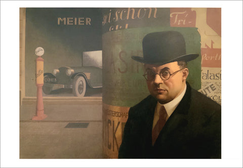 Georg Scholz: Self-Portrait in front of an Advertising Column [Postcard]