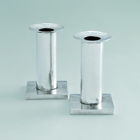 Biedermeier Sterling Silver Travel Candlesticks