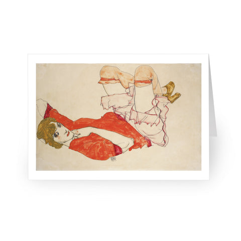 Egon Schiele: Wally in Red Blouse with Raised Knees, 1913 [Single Card]