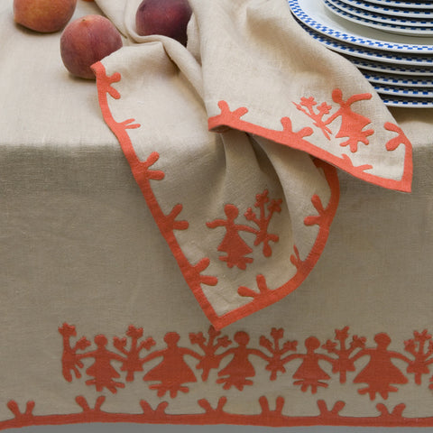 Hand-Embroidered Linen Tablecloth
