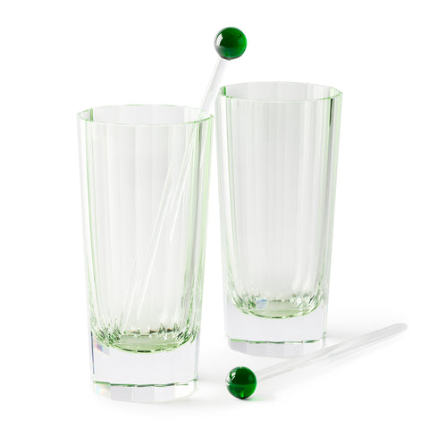 Peridot Facet-cut Tall Drinks Glass / Vase