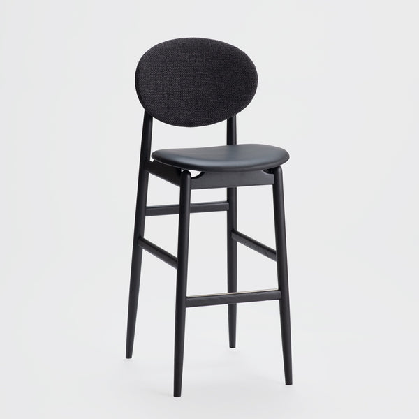 Outline Barstool / Sumi Ash - Leather - Fabric