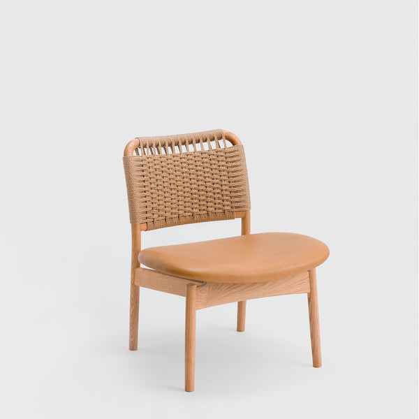 Saga Low Chair / Oak - Paper Cord - Leather Seat