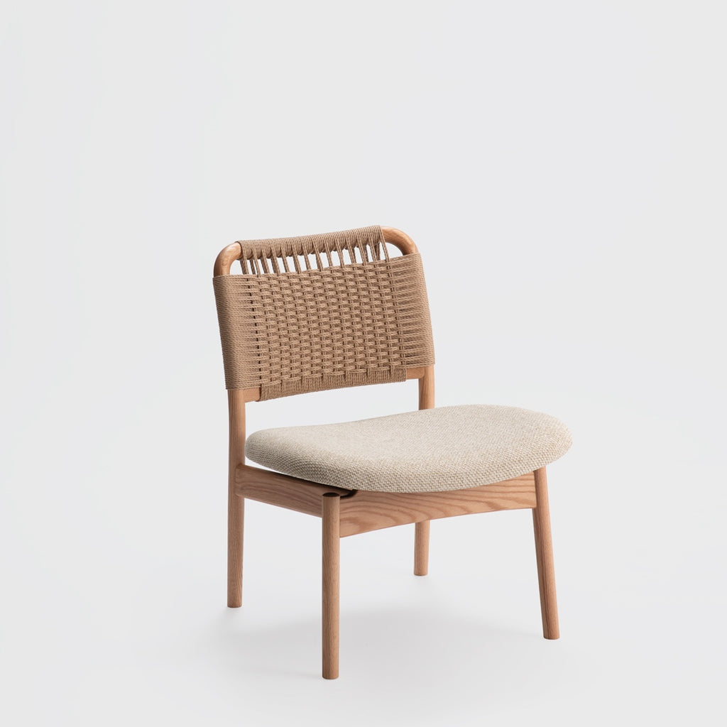 Saga Low Chair / Oak - Paper Cord - Fabric Seat