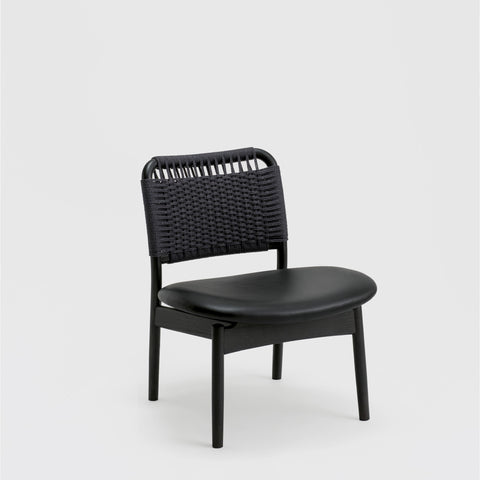 Saga Low Chair / Sumi Ash - Paper Cord - Leather Seat