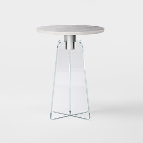CUPOLA Side Table / Clear Glass - Grey Marble