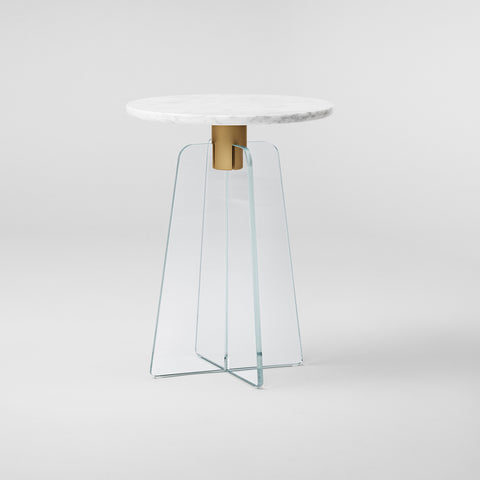 CUPOLA Side Table / Clear Glass - White Marble