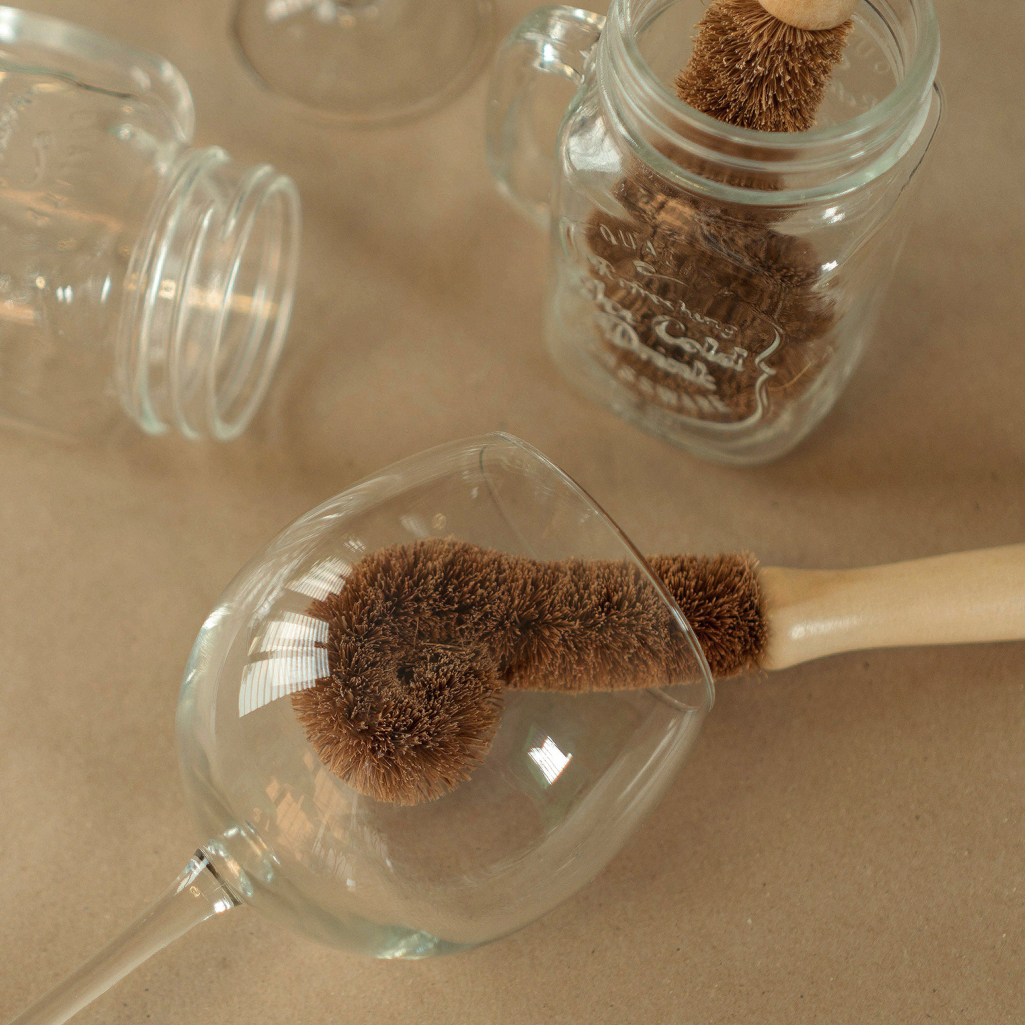 coconut coir glass brush