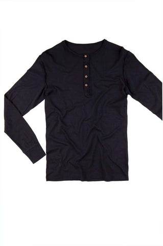 Men's Long Sleeve Henley - Black