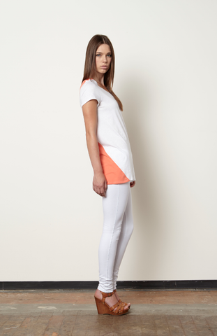 Dinaice Panel Top-White/Coral