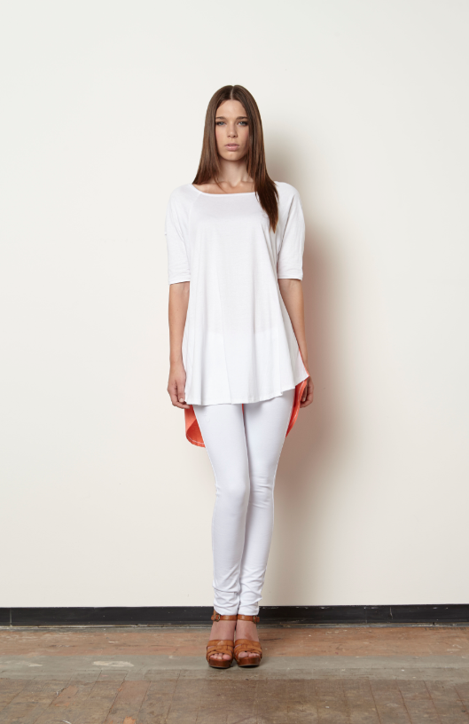 Elizabeth Tent Tee-White/Coral