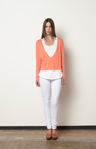 Berta Sweater Tee-White/Coral
