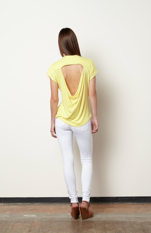 Jumwa Draped Back Top-Citron