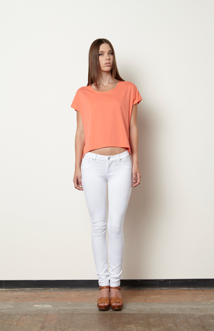 Jumwa Draped Back Top-Coral