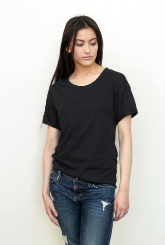 Unisex Cuffed Sleeve Loose Tee - Black