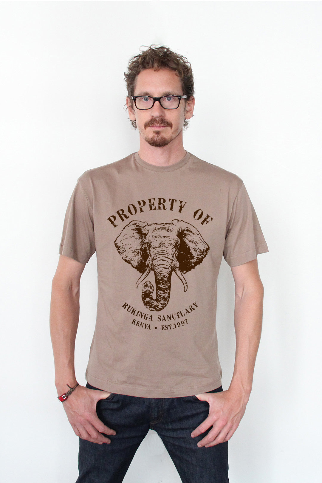 Men's Protect Our Elephants Crew Neck Tee - Bark