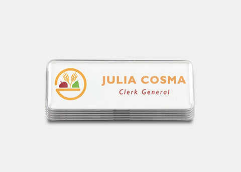 "Rectangle Name Badge Kit, 1"" x 3"" White 60 pcs"