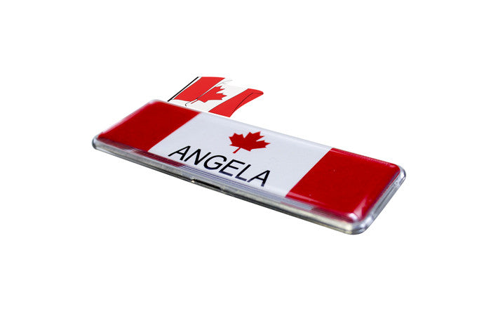 "Rectangle Name Badge Kit 1"" x 3"" - Canada Patriotic Flag Collection"