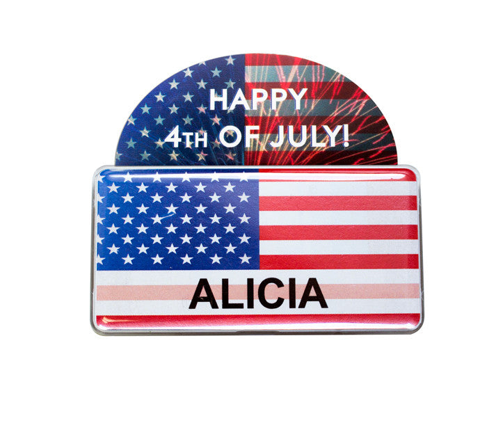 "Rectangle Name Badge Kit 1.5"" X 3.0""- USA Patriotic Flag Collection"