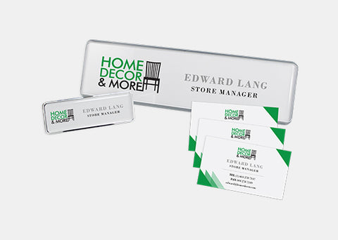 Business Identity Kit - Name Badges, Desk Signage, and Business Cards