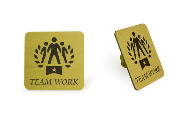 Lapel Pin Team Work 1x1 White Pin