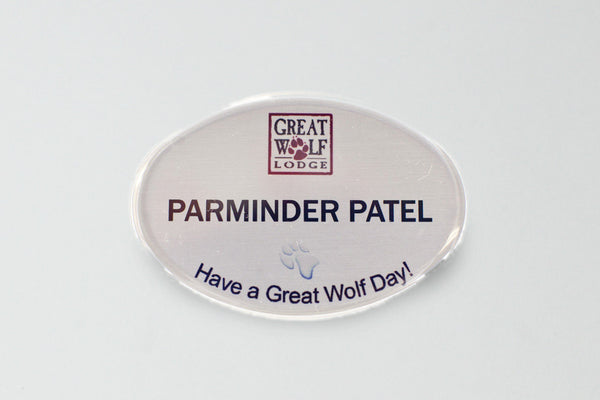 20-Unit Oval Silver Name Badge Kit