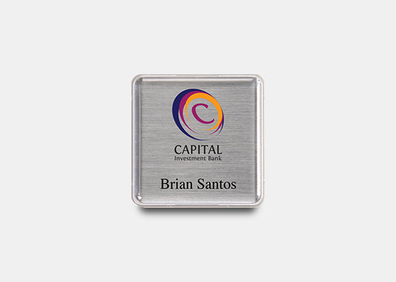 "Square Name Badge Kit 1.6"" x 1.6"" 20 pcs"