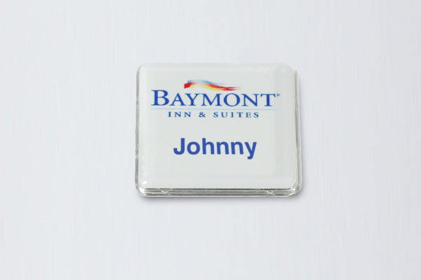 Square White Name Badge Kit, 20-Units