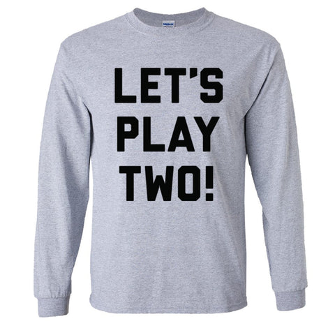 Let's Play Two Shirt Men's Long Sleeve T  - Sport Grey - 5XL