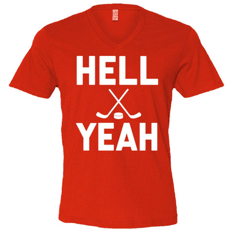 Hell Yeah Hockey Shirt Men's V-Neck Tee  - Apple Red - XXL
