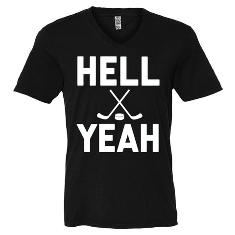 Hell Yeah Hockey Shirt Men's V-Neck Tee  - Black - XXL