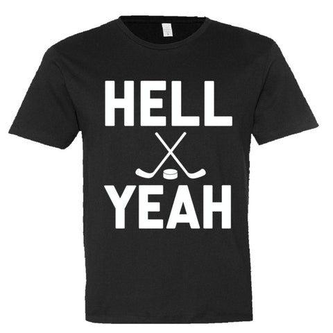 Hell Yeah Hockey Shirt Men's Super Soft Style  - Black - 3XL