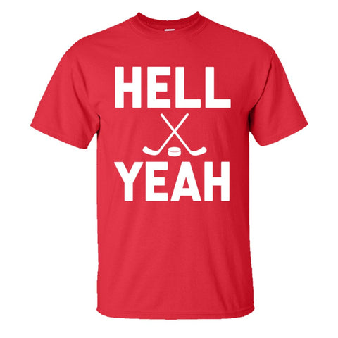 Hell Yeah Hockey Shirt Men's Regular Style - Red - 5XL